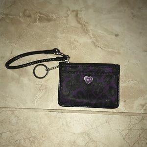Coach wristlet wallet purple and black cheetah